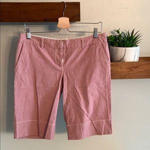 Red striped Bermuda shorts